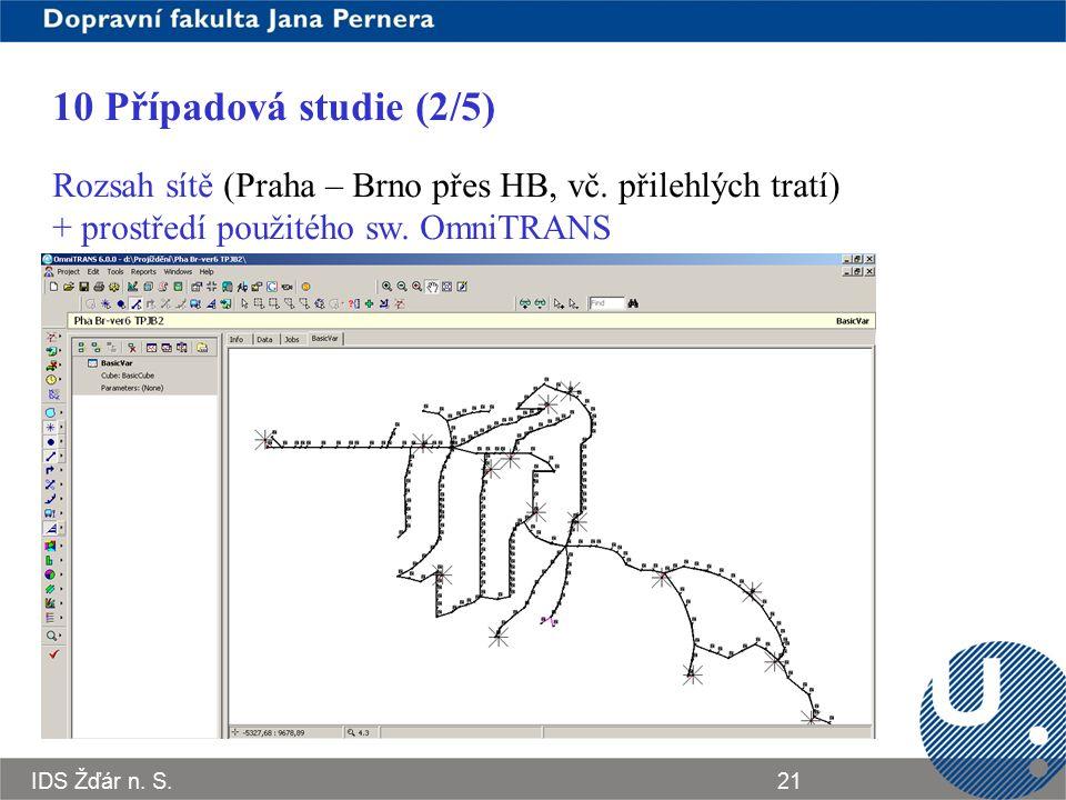 10 Případová studie (2/5) Rozsah sítě (Praha – Brno přes HB, vč. přilehlých tratí) + prostředí použitého sw. OmniTRANS.