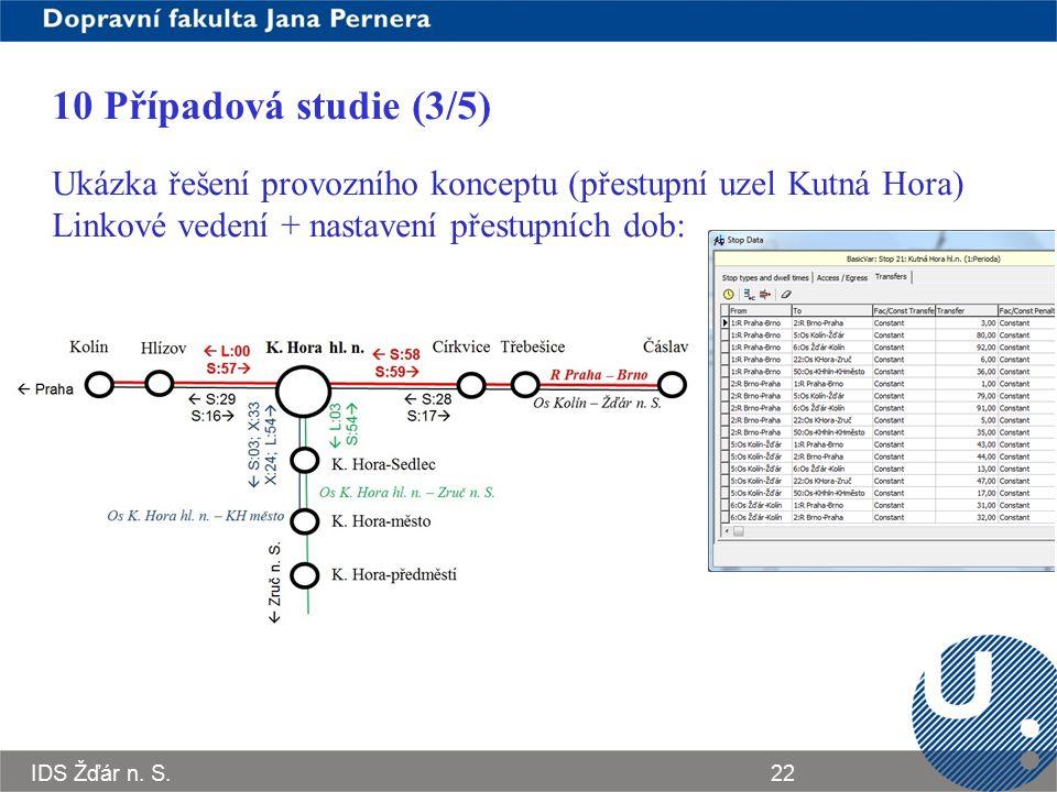 10 Případová studie (3/5) Ukázka řešení provozního konceptu (přestupní uzel Kutná Hora) Linkové vedení + nastavení přestupních dob: