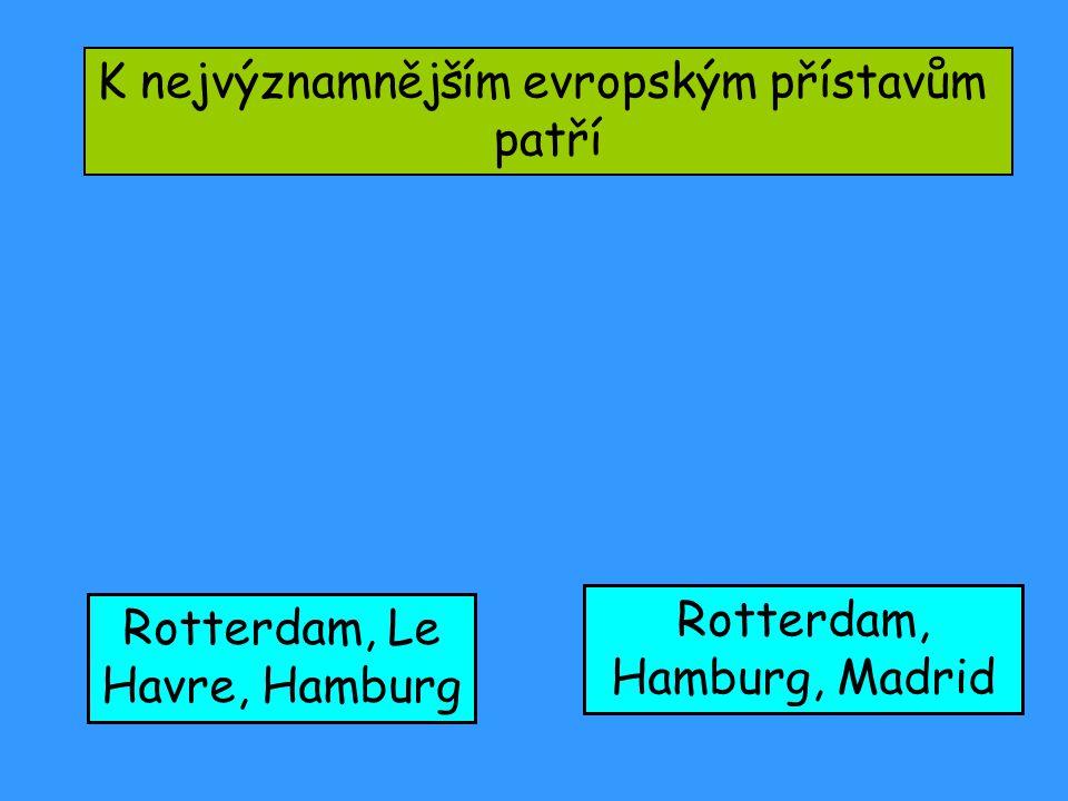 K nejvýznamnějším evropským přístavům patří