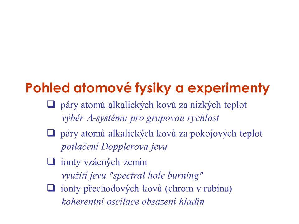 Pohled atomové fysiky a experimenty