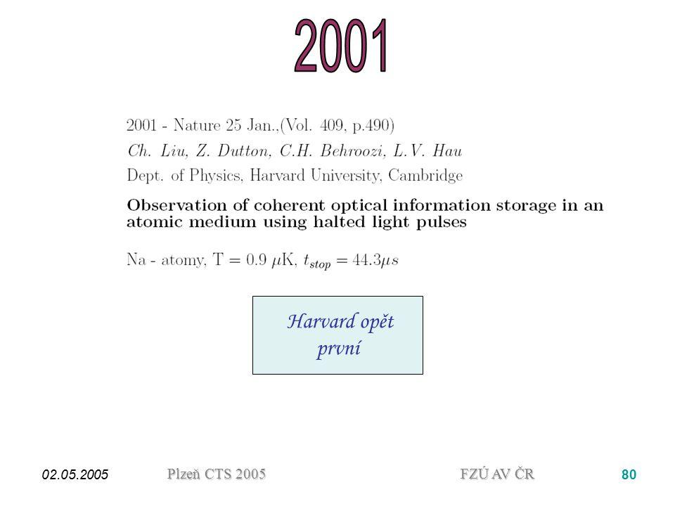 2001 Harvard opět první. 02.05.2005.