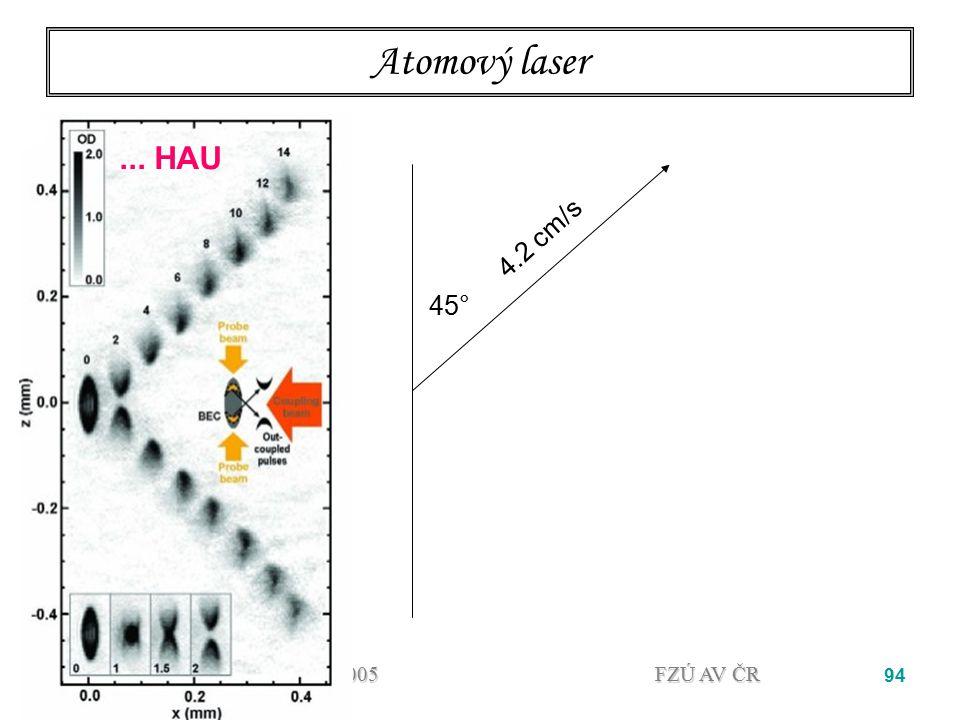Atomový laser ... HAU. 4.2 cm/s. 45° 02.05.2005.