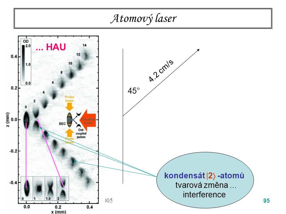 Atomový laser ... HAU 4.2 cm/s 45° kondensát  2 -atomů