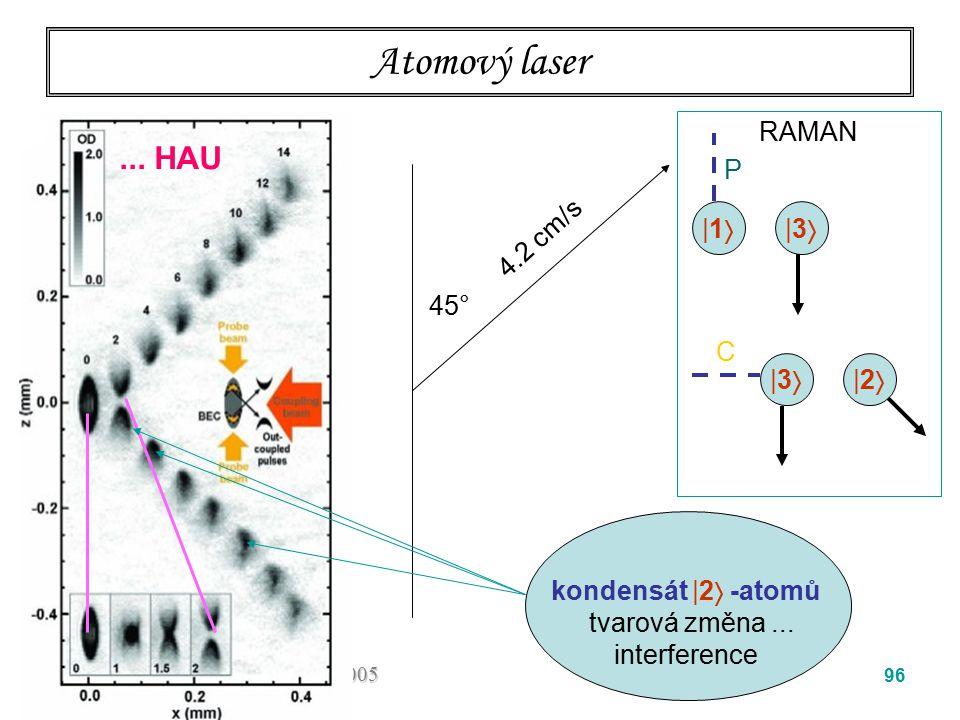 Atomový laser ... HAU RAMAN P 4.2 cm/s  1  3 45° C  3  2
