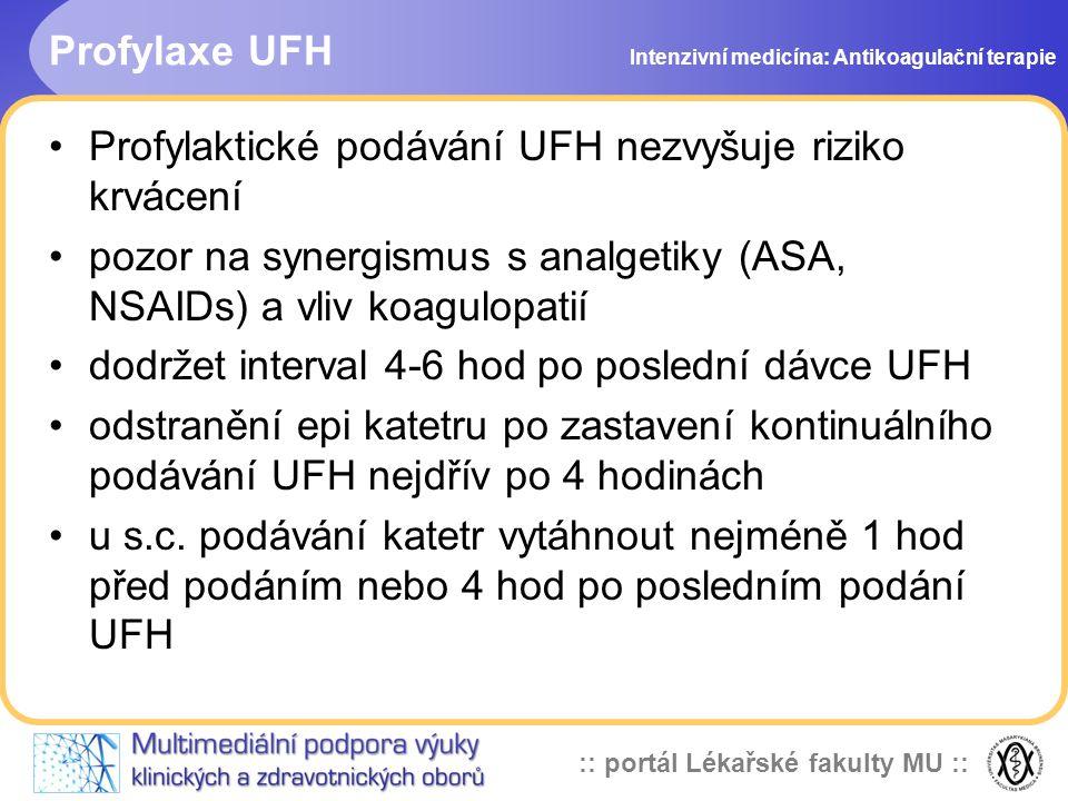 Profylaktické podávání UFH nezvyšuje riziko krvácení
