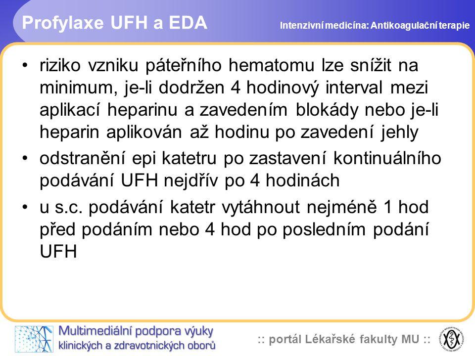 Profylaxe UFH a EDA Intenzivní medicína: Antikoagulační terapie.