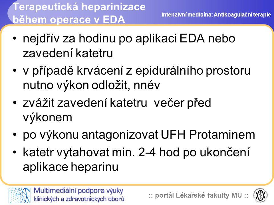 Terapeutická heparinizace během operace v EDA