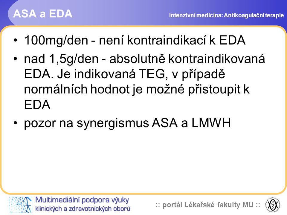 100mg/den - není kontraindikací k EDA