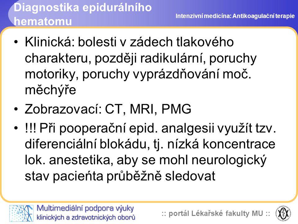 Diagnostika epidurálního hematomu
