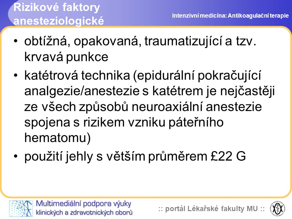 Rizikové faktory anesteziologické