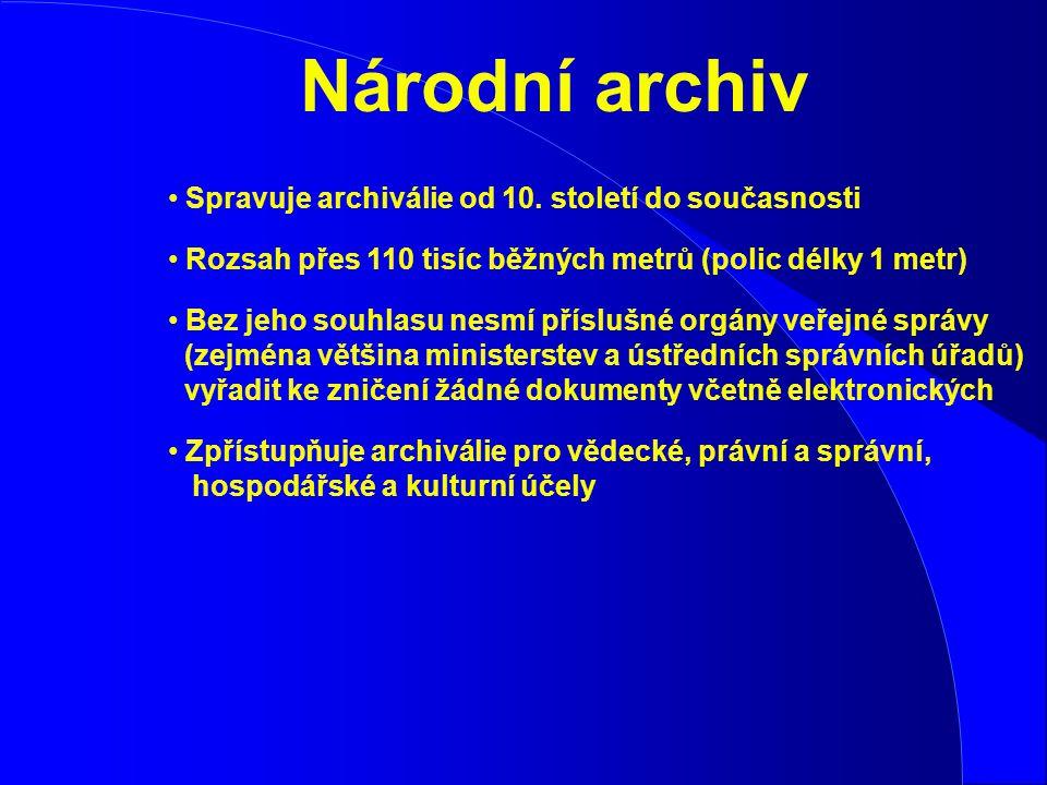 Národní archiv Spravuje archiválie od 10. století do současnosti