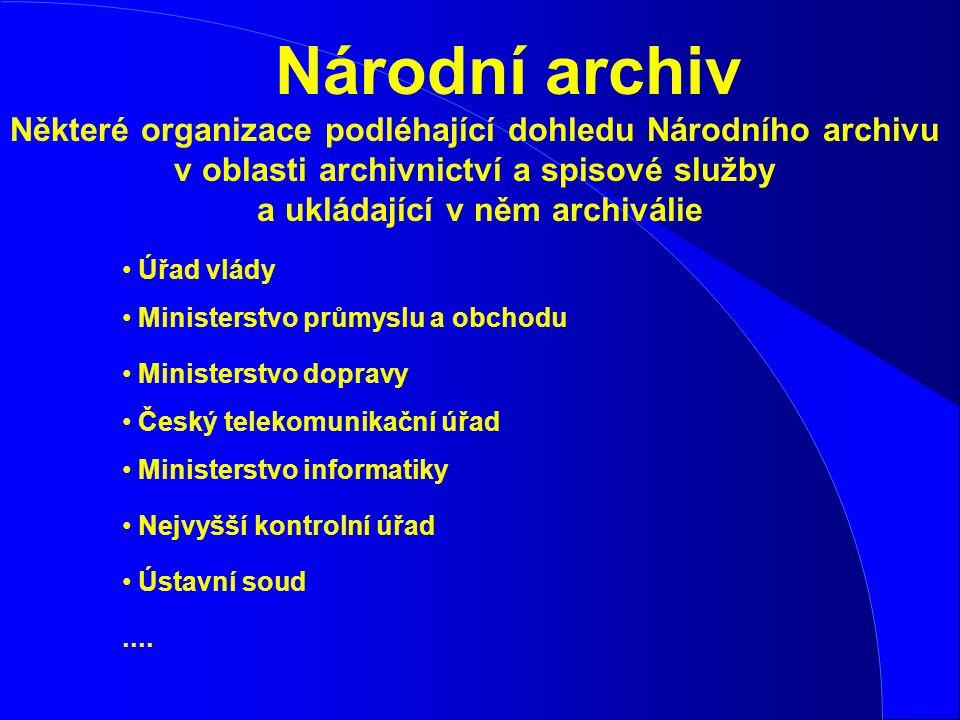 Národní archiv Některé organizace podléhající dohledu Národního archivu v oblasti archivnictví a spisové služby a ukládající v něm archiválie.