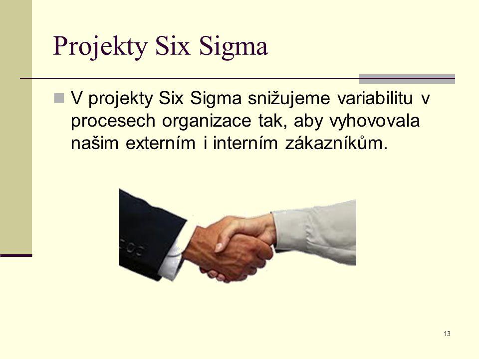 Projekty Six Sigma V projekty Six Sigma snižujeme variabilitu v procesech organizace tak, aby vyhovovala našim externím i interním zákazníkům.