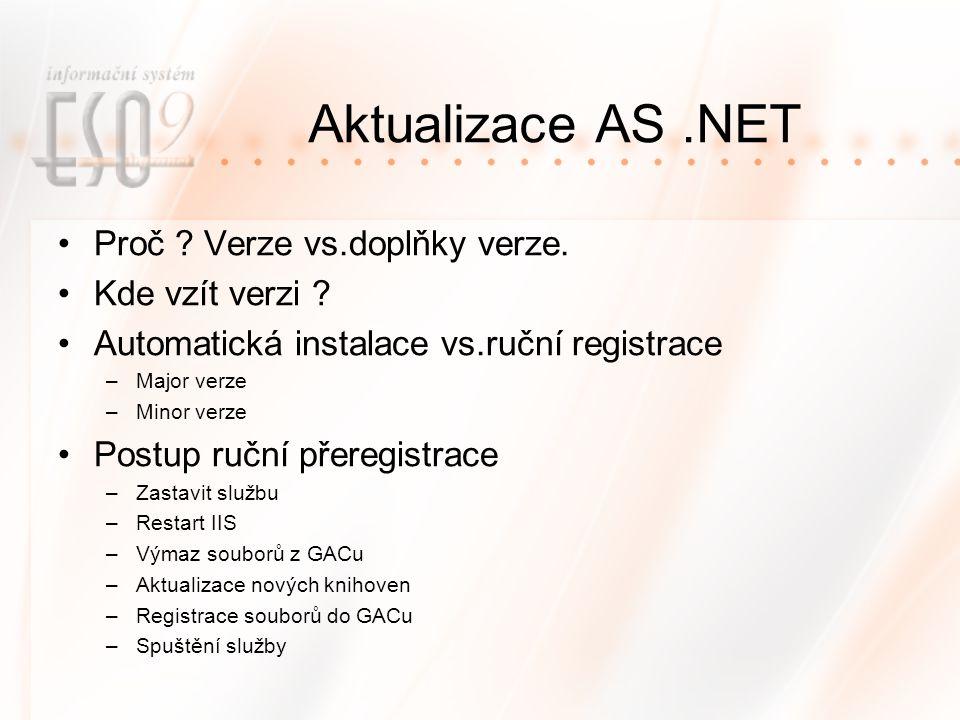 Aktualizace AS .NET Proč Verze vs.doplňky verze. Kde vzít verzi