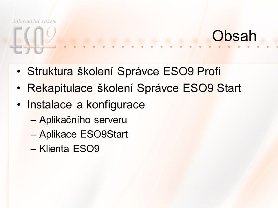 Obsah Struktura školení Správce ESO9 Profi