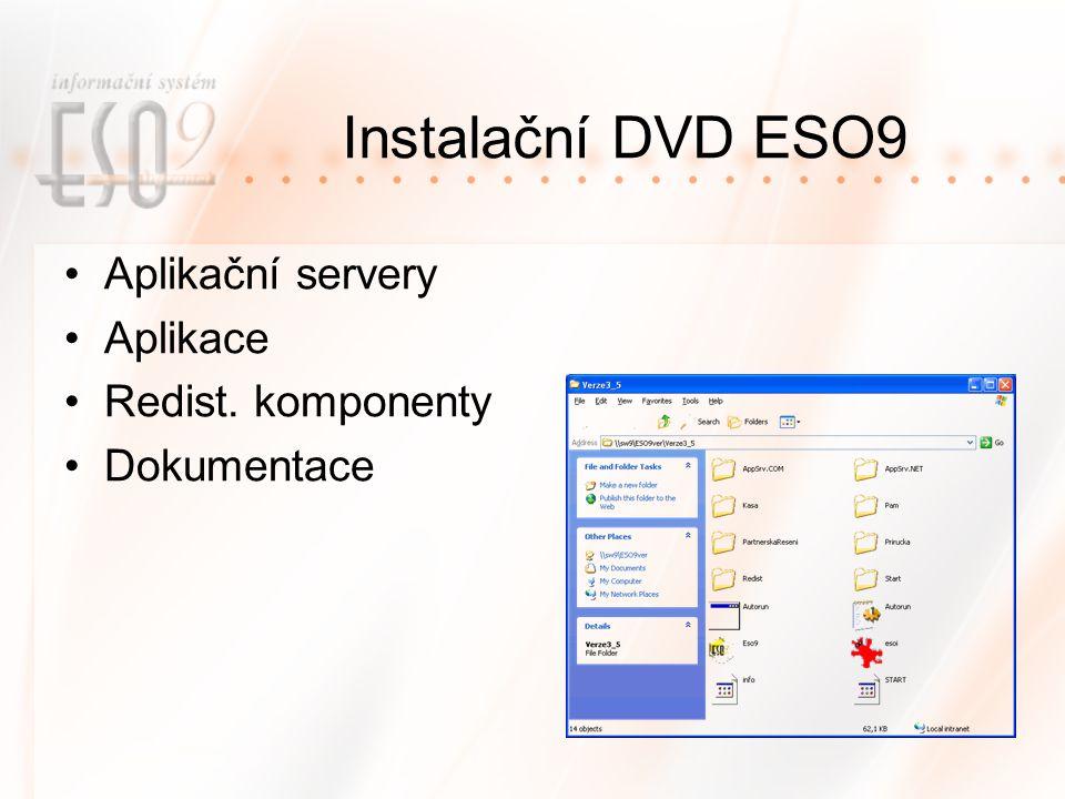 Instalační DVD ESO9 Aplikační servery Aplikace Redist. komponenty