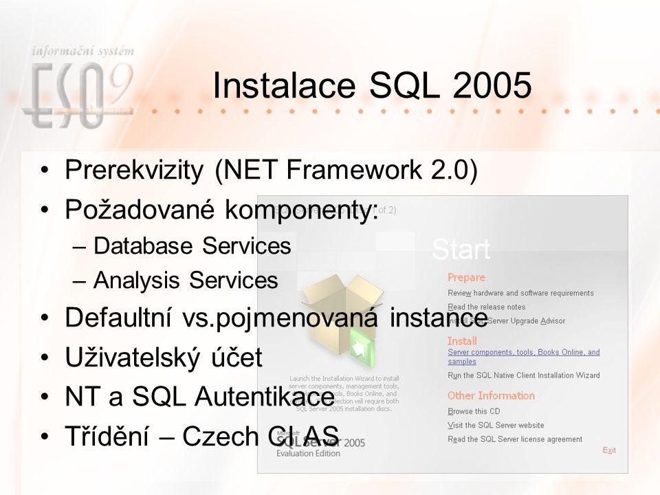 Instalace SQL 2005 Prerekvizity (NET Framework 2.0)