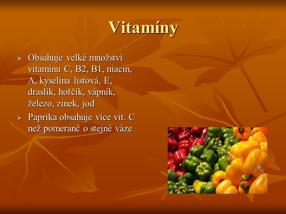 Vitamíny Obsahuje velké množství vitamínu C, B2, B1, niacin, A, kyselina listová, E, draslík, hořčík, vápník, železo, zinek, jod.