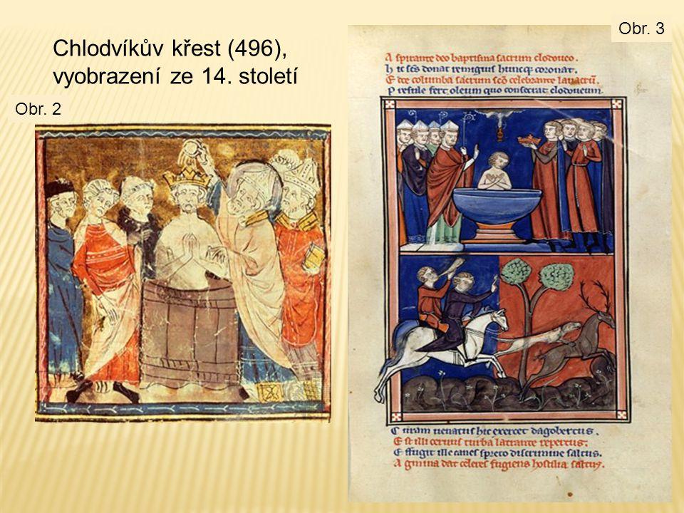 Chlodvíkův křest (496), vyobrazení ze 14. století