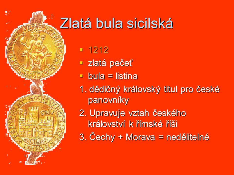 Zlatá bula sicilská 1212 zlatá pečeť bula = listina