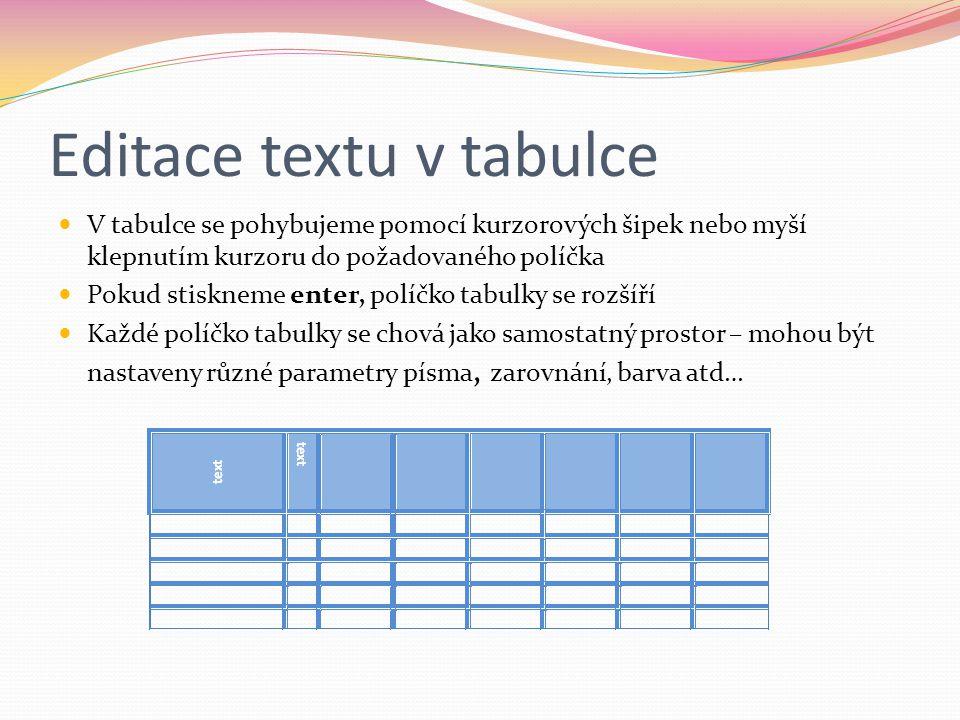 Editace textu v tabulce
