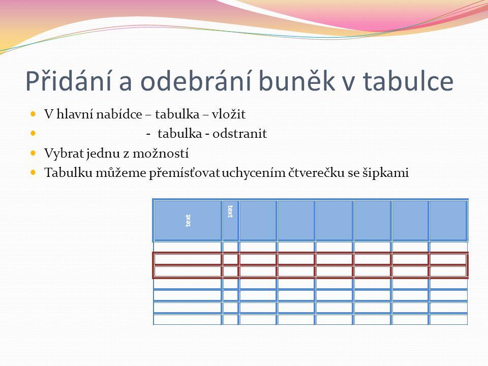 Přidání a odebrání buněk v tabulce