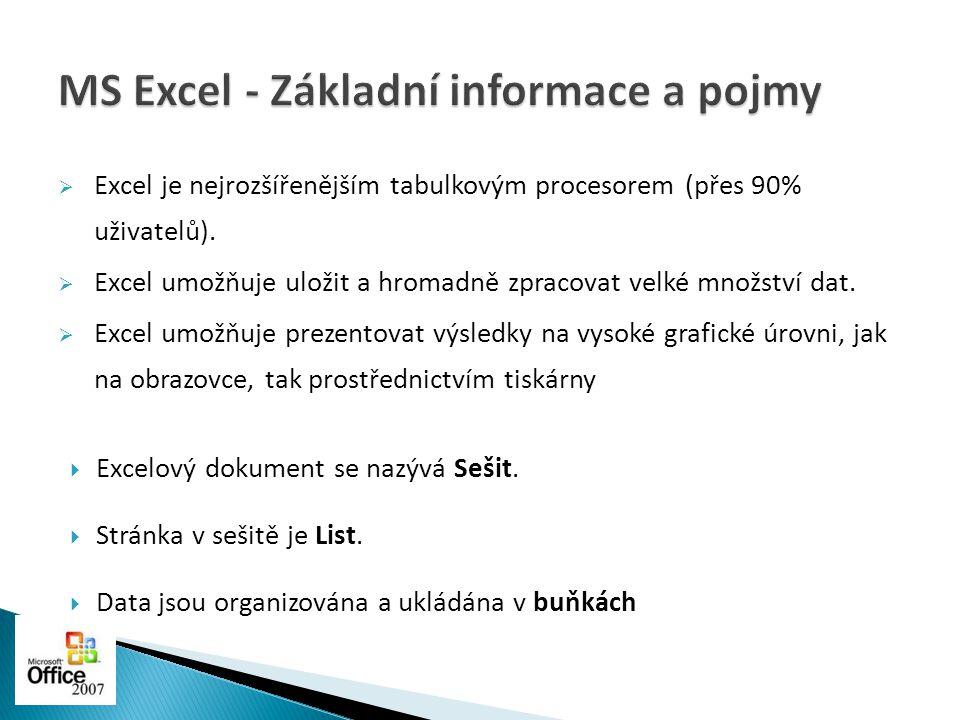 MS Excel - Základní informace a pojmy