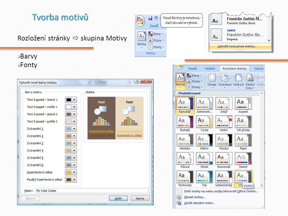 Tvorba motivů Rozložení stránky  skupina Motivy Barvy Fonty