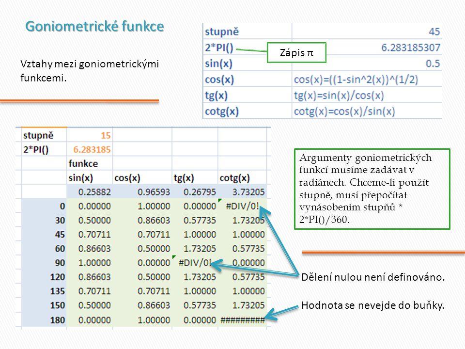 Goniometrické funkce Zápis π Vztahy mezi goniometrickými funkcemi.