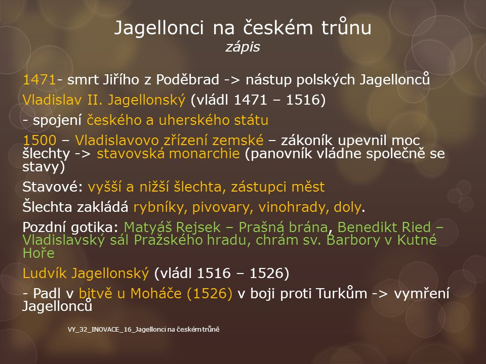 Jagellonci na českém trůnu zápis