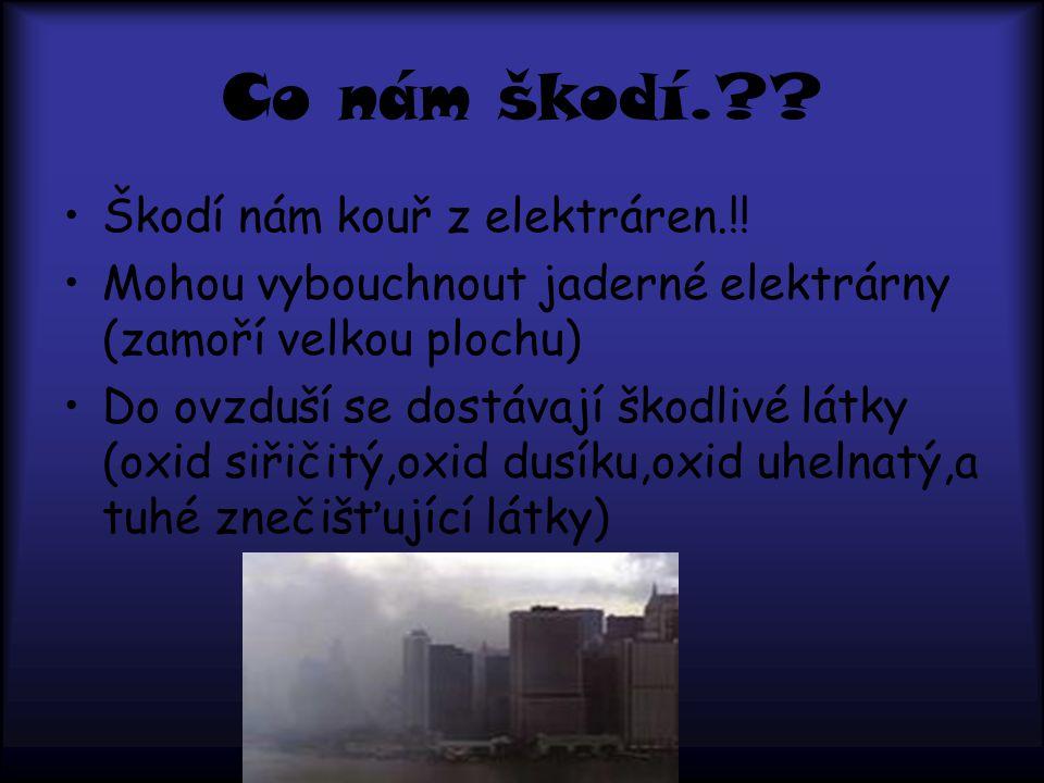 Co nám škodí. Škodí nám kouř z elektráren.!!