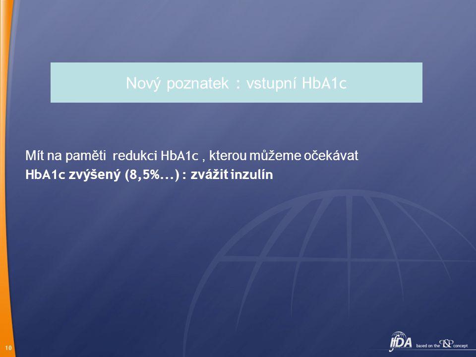 Nový poznatek : vstupní HbA1c