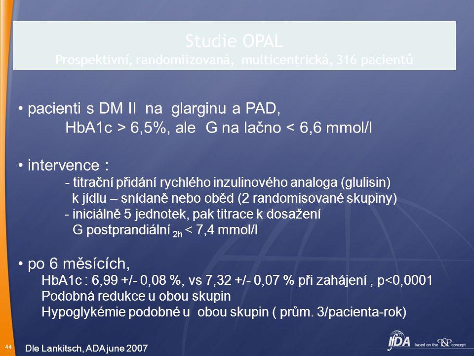 Studie OPAL Prospektivní, randomiizovaná, multicentrická, 316 pacientů