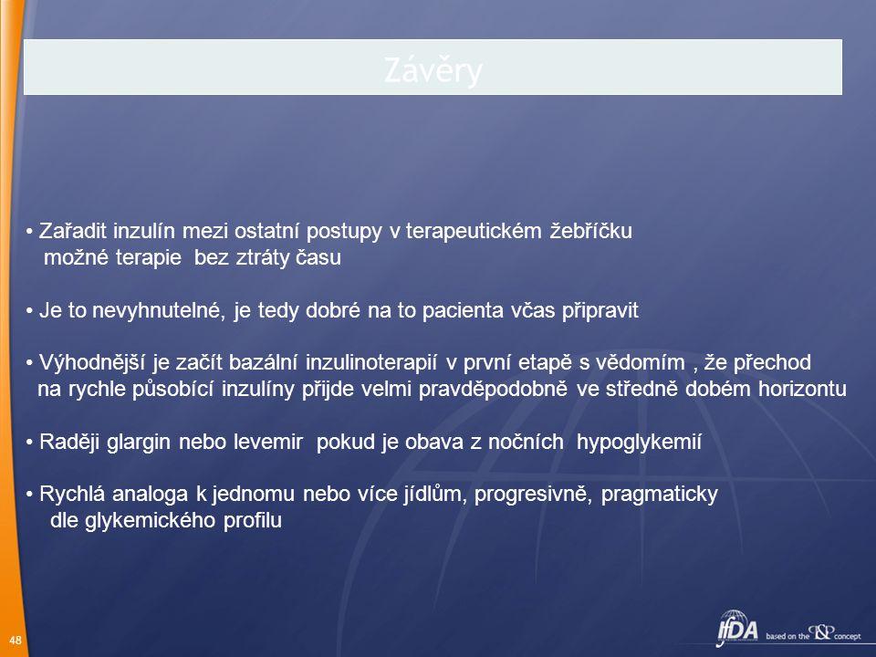 Závěry Zařadit inzulín mezi ostatní postupy v terapeutickém žebříčku