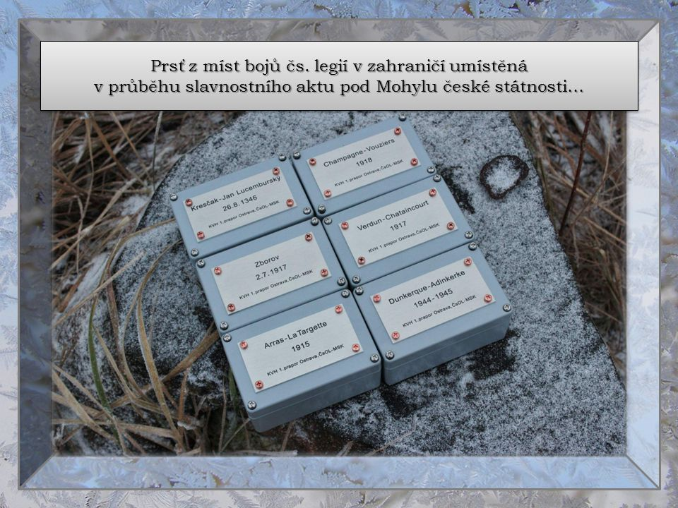 Prsť z míst bojů čs. legií v zahraničí umístěná