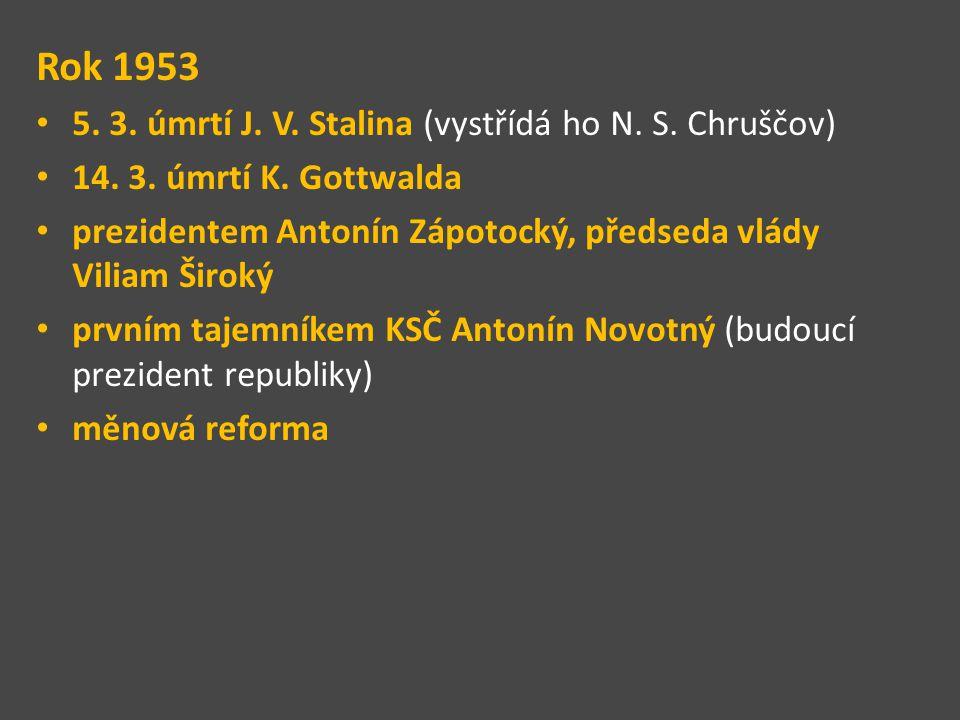 Rok 1953 5. 3. úmrtí J. V. Stalina (vystřídá ho N. S. Chruščov)