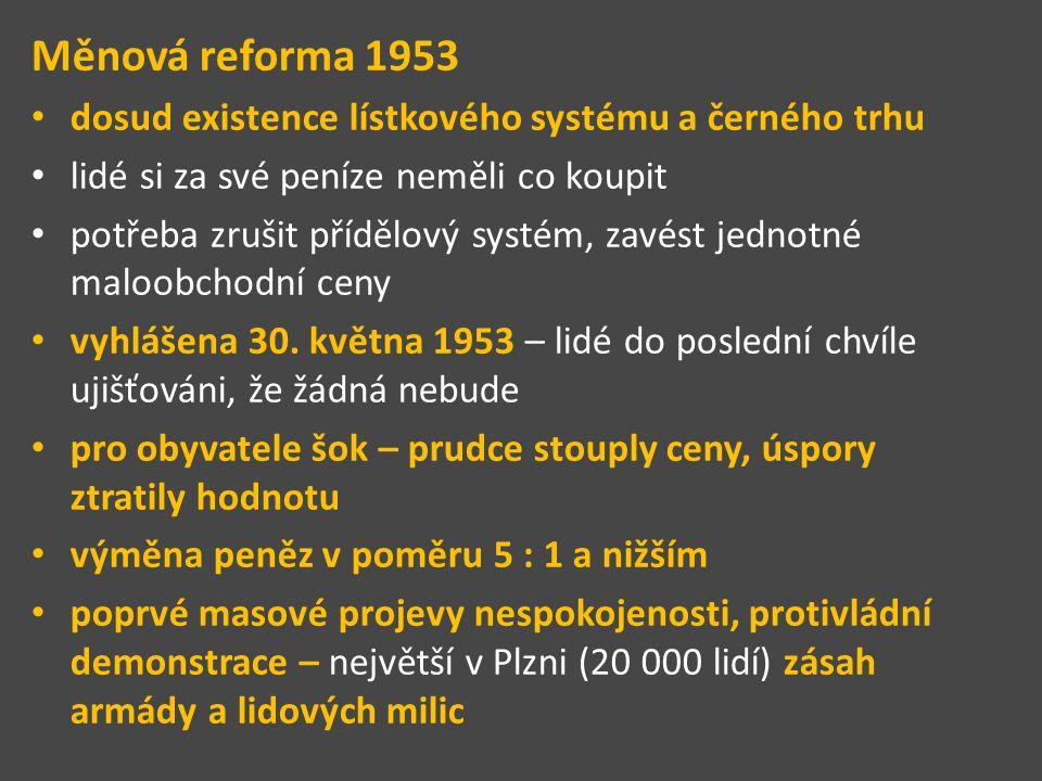 Měnová reforma 1953 dosud existence lístkového systému a černého trhu