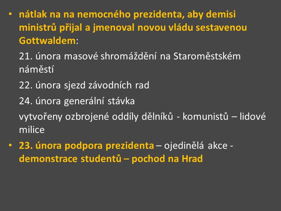 nátlak na na nemocného prezidenta, aby demisi ministrů přijal a jmenoval novou vládu sestavenou Gottwaldem: