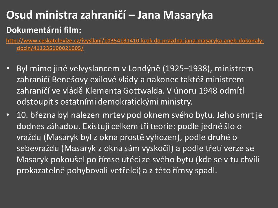 Osud ministra zahraničí – Jana Masaryka