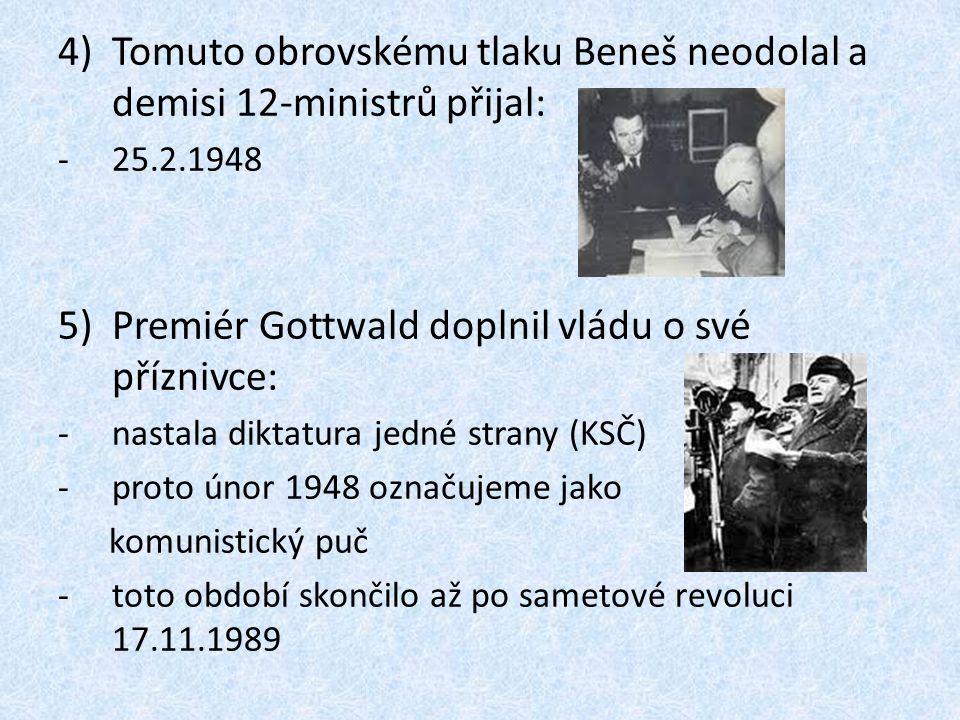 Tomuto obrovskému tlaku Beneš neodolal a demisi 12-ministrů přijal: