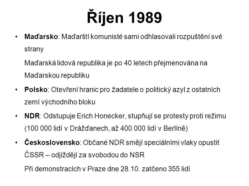 Říjen 1989 Maďarsko: Maďarští komunisté sami odhlasovali rozpuštění své strany.