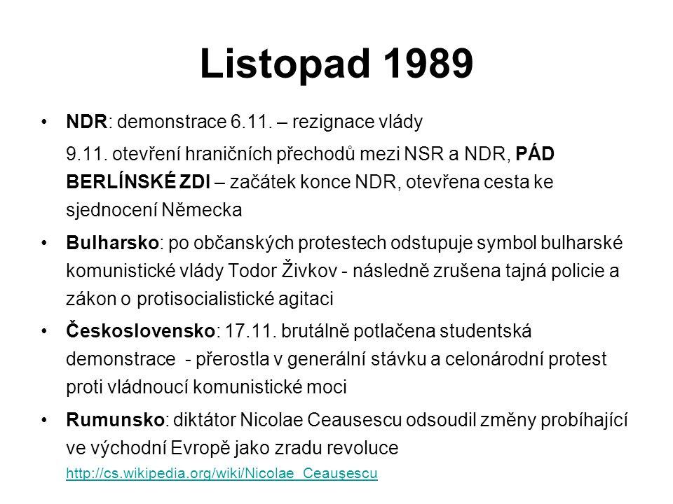 Listopad 1989 NDR: demonstrace 6.11. – rezignace vlády