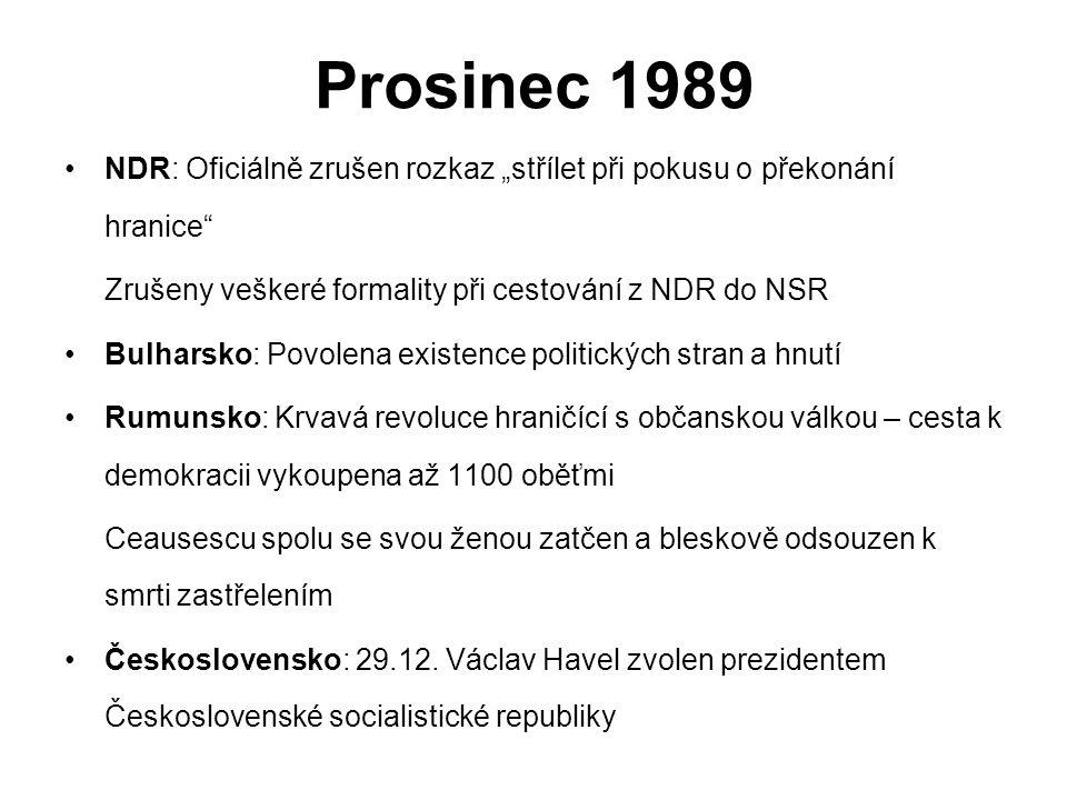 """Prosinec 1989 NDR: Oficiálně zrušen rozkaz """"střílet při pokusu o překonání hranice Zrušeny veškeré formality při cestování z NDR do NSR."""
