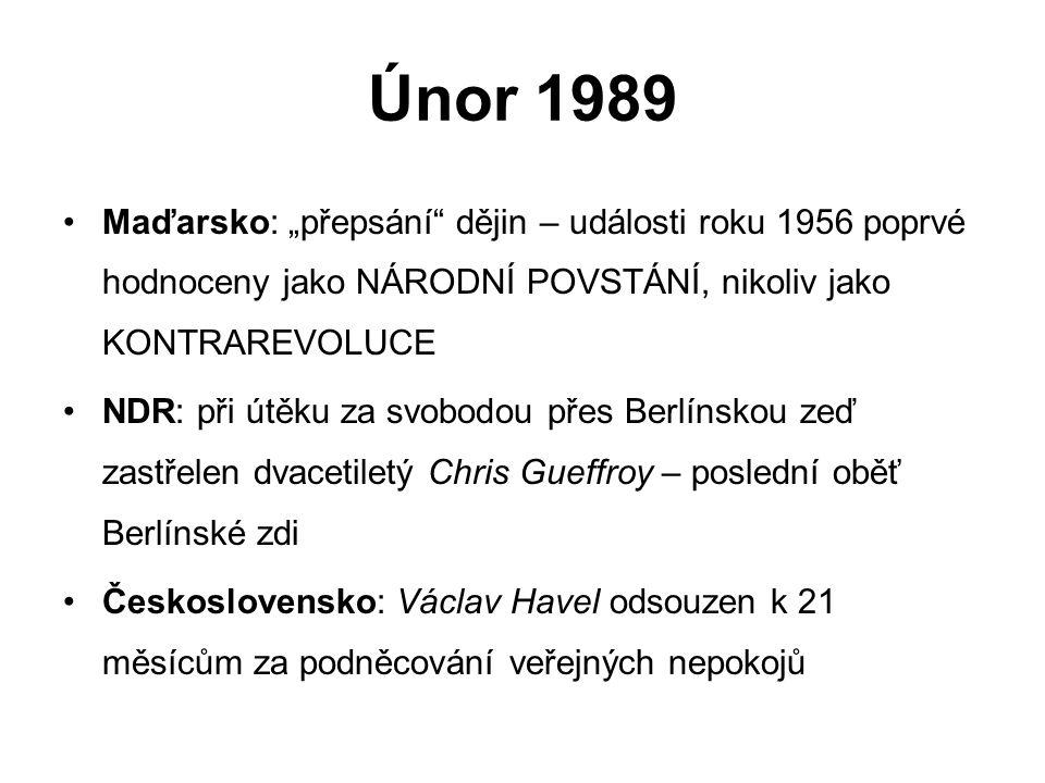 """Únor 1989 Maďarsko: """"přepsání dějin – události roku 1956 poprvé hodnoceny jako NÁRODNÍ POVSTÁNÍ, nikoliv jako KONTRAREVOLUCE."""