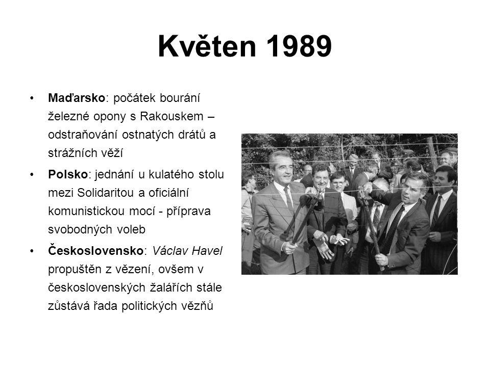 Květen 1989 Maďarsko: počátek bourání železné opony s Rakouskem – odstraňování ostnatých drátů a strážních věží.