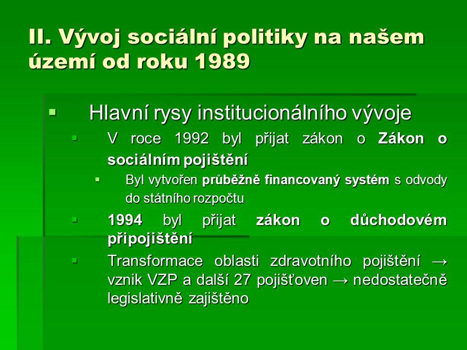 II. Vývoj sociální politiky na našem území od roku 1989
