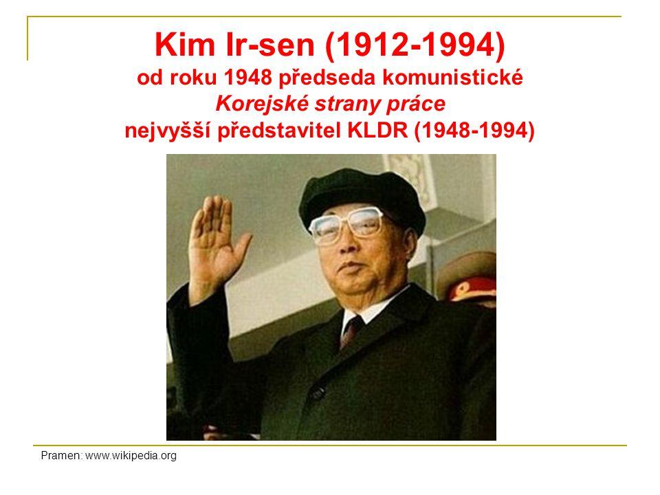 Kim Ir-sen (1912-1994) od roku 1948 předseda komunistické Korejské strany práce nejvyšší představitel KLDR (1948-1994)