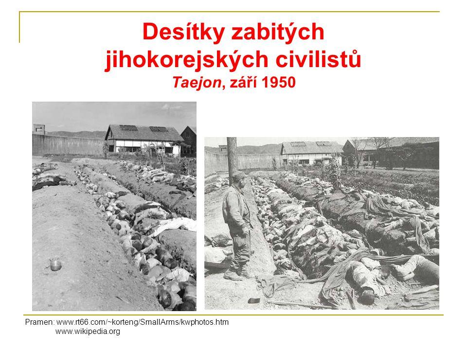 Desítky zabitých jihokorejských civilistů Taejon, září 1950