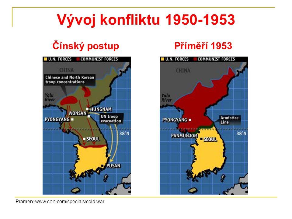 Vývoj konfliktu 1950-1953 Čínský postup Příměří 1953