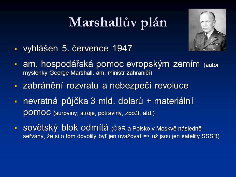 Marshallův plán vyhlášen 5. července 1947